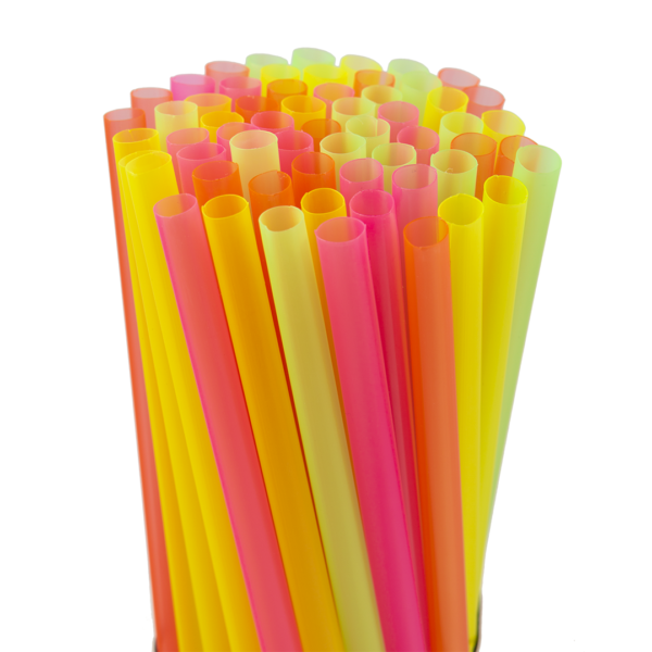 8″ Assorted Neon Fat Straw