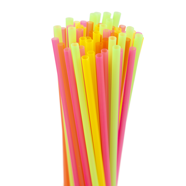 8″ Assorted Neon Slim Straws